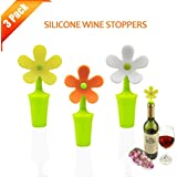 Wine Stopper,Silivo Sunflower Shape Silicone Wine Bottle Stoppers Perfect for Wine,Champagne,Beverage,Beer(Pack of 3)