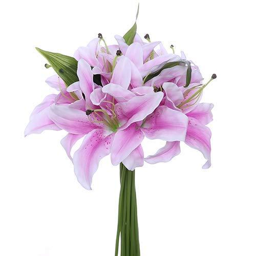 Fs – Ramo de lirios artificiales, 11 unidades, 32cm, diámetro de la flor de 15,2cm