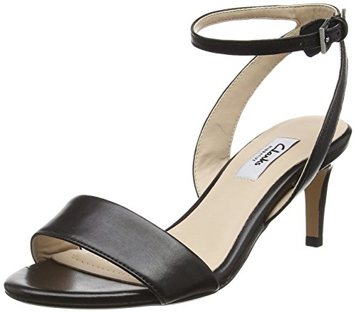 Clarks Amali Jewel - Sandali con Zeppa Donna, Nero (Black Leather), 38 EU