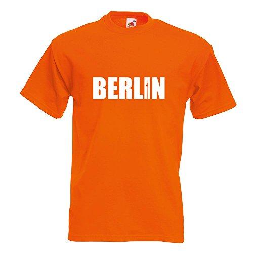 KIWISTAR - Berlin Schriftzug T-Shirt in 15 verschiedenen Farben - Herren Funshirt bedruckt Design Sprüche Spruch Motive Oberteil Baumwolle Print Größe S M L XL XXL Orange