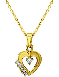 Mahi Valentine's Day Gift Infinite Love Heart Gold Plated Pendant With CZ For Women PS1101596G