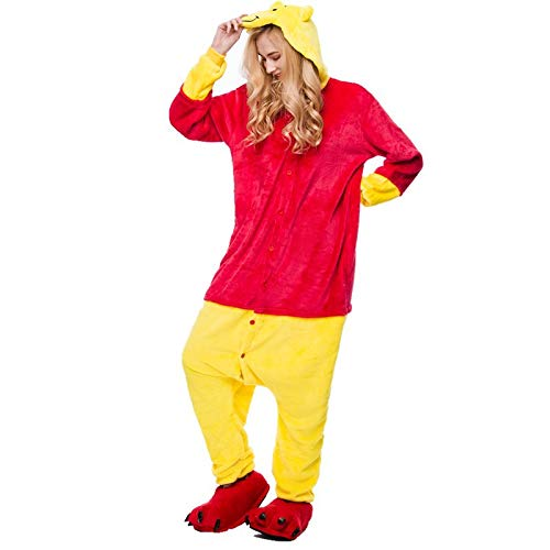 YLOVOW Erwachsene Männer Frauen Unisex Tierischen Schlafanzug Kigurumi Cosplay Kostüm Pyjamas Outfit Onesies Halloween Billige Kostüm Kleidung,L
