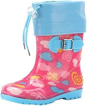a0868df52739da LvRao Kinder Junge Mädchen Gummistiefel Blumen Gedruckt groß Outdoors Warm  Fleece-gefütterte Regenstiefel Schnee Stiefel
