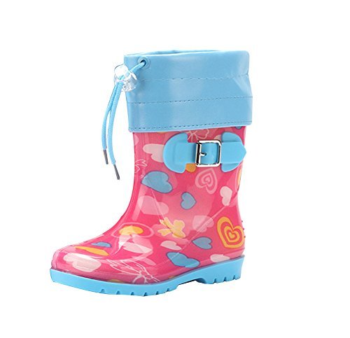 LvRao Kids Boy Girl Wellies Rain Shoes Boots Floral Printed Tall Outdoors Warm Fleece-Lined Wellington Boots