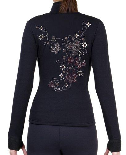 ny2 Sportswear Eiskunstlauf Polar Fleece Spannbettlaken Jacken von Polartec mit Strass R30, Mädchen Damen, schwarz, Child Large - Jacke Strass