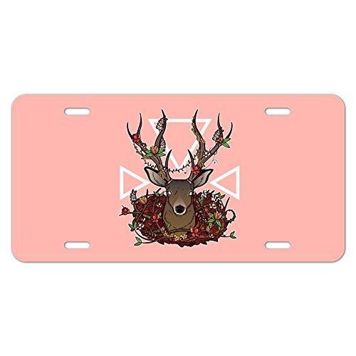Funny License Plate Auto Tag Deer Head Floral Motorrad Metall Vanity Schild