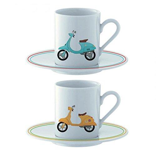 Set regalo di due tazze tazzine da caffe scooter retro vintage