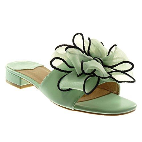 Angkorly Scarpe Moda Sandali Mules Slip-On Donna Nodo tulle Tacco a Blocco Alto 4 cm Turchese