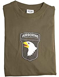 T-Shirt m.Druck '101St Ab' oliv