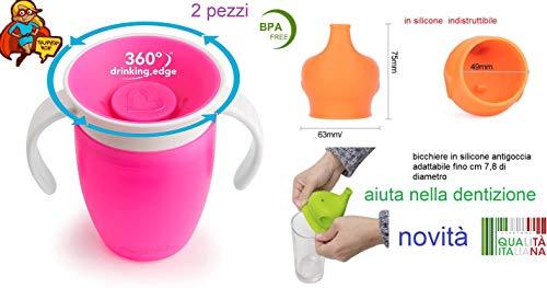bicchieri di silicone colorati antigoccia per bambini e neonati