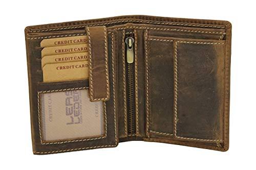 LEAS Portafoglio Uomo extra grande Portafogli Donna per 12 carte di credito Used Look, Vera Pelle - Vintage-Collection (cognac scuro)