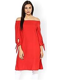 The Bebo Red Off Shoulder Pure Crepe Straight Elegant Kurti