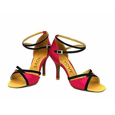 Scarpe da ballo-Personalizzabile-Da donna-Balli latino-americani / Salsa-Tacco su misura-Raso-Blu / Giallo / Rosa / Viola / Rosso / Bianco White