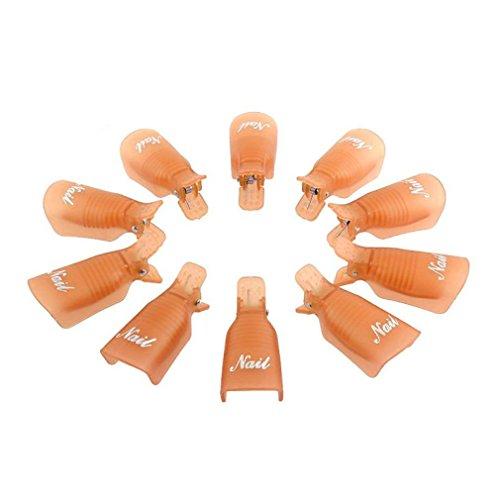 FEITONG 10PC Plastique Nail Art Soak Off Cap clip UV Gel Polish Remover Wrap (Orange)