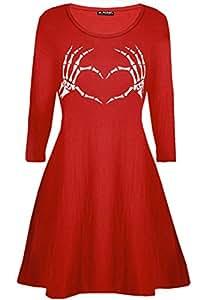 Be Jealous Damen Halloween ausgestellt Kostüm Skelett Knochen Herz Kittel Swing Minikleid 8-26 - grau, S/M (UK 8/10)