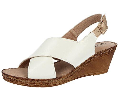 Cushion Walk Damen-Peeptoe-Sandale mit Keilabsatz und Riemen, breite Passform, Leder, Sommersandalen, Größe 3 - 8, Weiß - A03 White - Größe: 39 White Peep Toe Wedge