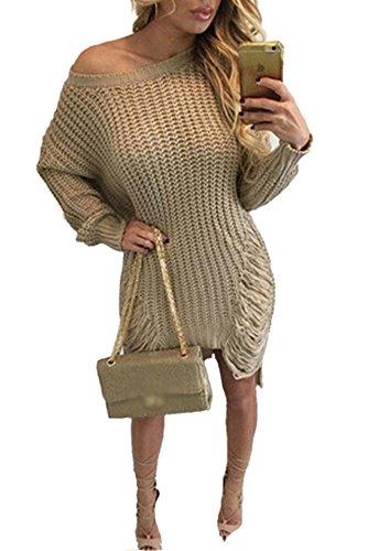 YOUJIA Femmes Pull Chandail Tricote Manche longue Oversize Déchirés Troué Jumper Mini Robe Pull Kaki