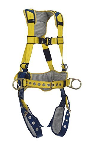 DeltaComfort 1100797 Fall Arrest Kit with Back/Side D-Rings, Belt with Pad, Tongue Buckle Leg Straps and Comfort Padding, Large, Navy/Yellow by Capital Safety