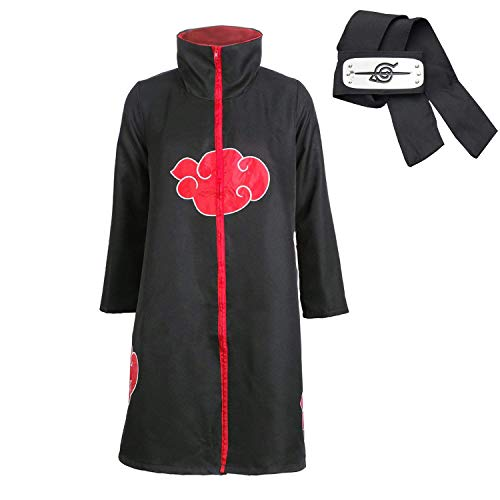 D.F.L Naruto Akatsuki Mantel Cosplay Kostüm Cloak ,Cosplay Umhang Akatsuki Itachi Mantel Gewand Kostüm - Konoha Stirnband Headband Anime , Itachi Uchiha für Erwachsene (S - Kostüm De L'akatsuki