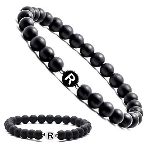 Personalisierte Namensarmbänder | Partnerarmbänder mit Onyx Perlen | Perlenarmband | Individueller Schmuck für Männer und Frauen | Buchstabe R