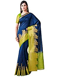 Mimosa Kanjivaram Style Linen saree Color: Blue (4497-391-2D-NVY-OLV)