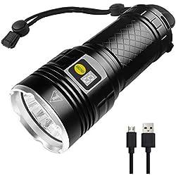 Lampe de poche Semlos LED 10000 lumens, lampe de poche 12xLEDs ultra-brillante, rechargeable par USB, 4 modes, fonction d'affichage de l'alimentation (noir)