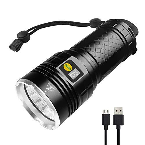 Semlos LED taschenlampe 10000 Lumen, 12xLEDs taschenlampe extrem hell, Type-C USB Schnelles Wiederaufladbare, 4 Modi, Power-Display-Funktion, Eingebaute Batterie, IPX-5 Wasserbeständigkeit (Starke Lumen Taschenlampe)