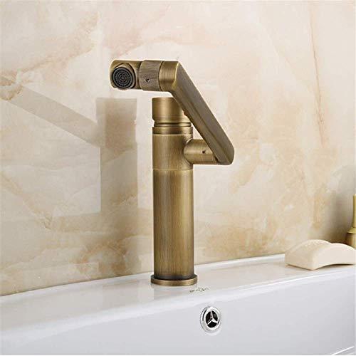BH-JJSMGS,Antiker Messingmischer des heißen und kalten Wassers des Badezimmers, drehender Waschbeckenwaschbecken-Waschbeckenhahn des Hebels der Mode kreativer -