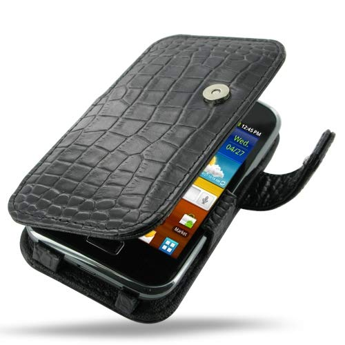 PDair Handarbeit Leder Hülle - Leather Book Case for Samsung Galaxy Ace Plus GT-S7500 (Black Crocodile Pattern)