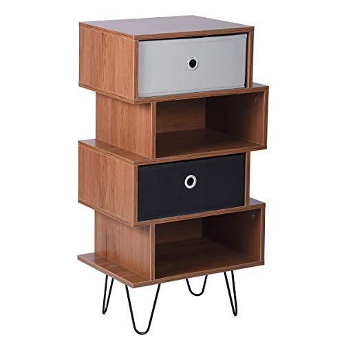 Aingoo Moderner 4-stöckiger Aufbewahrungsschrank H38 mit abnehmbaren 3 Schubladen, offenes Würfelregal, Bücherregal, MDF-Telefontisch, Weiß Shelf 4tier-Brown (Moderne Bücherregal Graue)