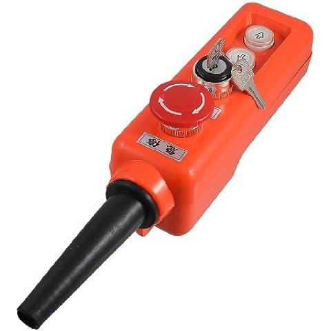 Sourcingmap - Abajo interruptor del botén de parada de emergencia rojo elevador empuje cerradura selector de 3 posiciones