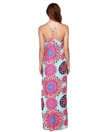 PU&PU Robe Aux femmes Ample Vintage,Fleur Col en V Maxi Polyester PINK-L