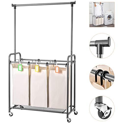 Eleven II 3-Beutel Wäschesortierer, rollbarer Wäschekorb mit Hängestange Stabiler Rahmen & Enorme Kapazität (Beige)