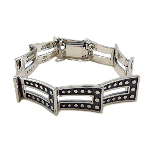 mit Punze Sterling 925Silber Designer Domino Zwei Ton Armband Manschette