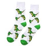 Oottati Skateboard Socken Herren - 1 Paare - Gemustert Und Bunt - Eu 40-47 Tierischer Weißer Dinosaurier