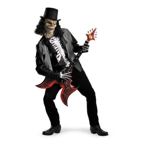 Skelett Rockstar Zombie Halloween Kostüm schwarz-weiss L/XL (Zombie Kostüme Halloween Rockstar)