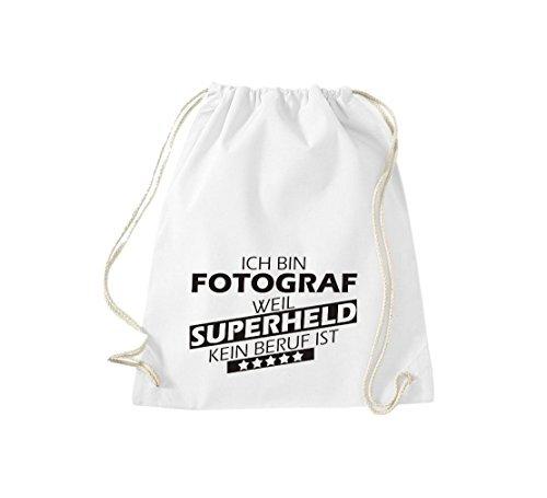 Shirtstown Borse palestra Sono Fotografo, perché Super eroe niente Occupazione è - Grigio Chiaro, 37 cm x 46 cm bianco
