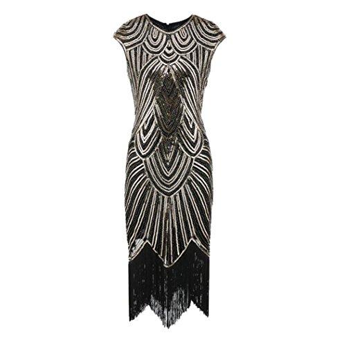 TIREOW Damen Kleider, Neue Quaste Pailletten Art Nouveau Verschönert Fransen Flapper Vintage...