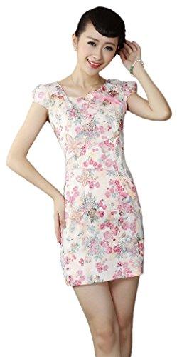 Smile YKK Femme Robe Courte Cheongsam Qipao Chinoise Fleur Rose