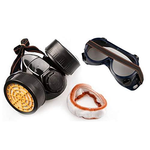 Eduton Doppelkartuschen Chemische Gas-Staub-Farben-Atemschutzmaske + Augen-Glas-Schutzbrillen - Dual Cartridge Respirator