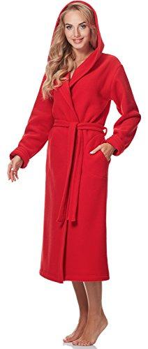 Merry Style Damen Bademantel mit Kapuze 3S4R3N4 Rot