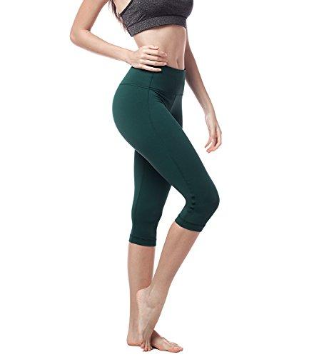 Lapasa Damen 3/4 Sport Leggings, mit Tasche, Super Opak, 3/4 Yoga Sporthose, Damen Capri kurz Training Tights L002 (Dunkelgrün, XS (Taille 56-66 cm, Schrittlänge 45.5cm)) -
