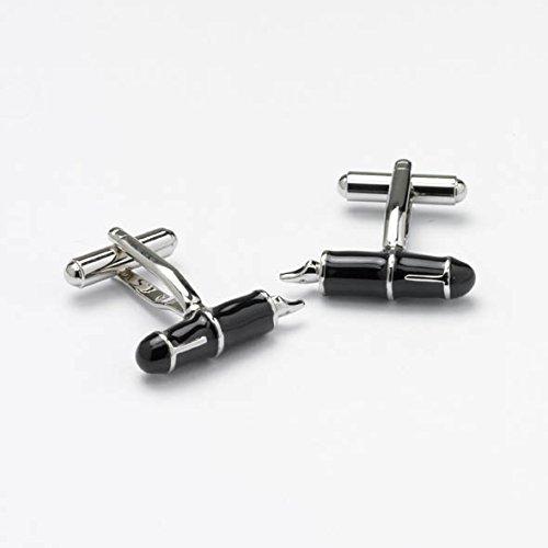 Nouveauté Stylo plume Onyx boutons de manchette en acier inoxydable et émail noir poli par Art - Un must pour tous les fans de stylo plume (ck128)
