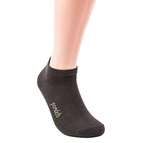 Hoch Damen-socken (pandoo 6er Packung Bambus Sneaker-Socken Unisex - Perfekt für Sport & Freizeit - Atmungsaktiv, Anti-Schweiß, Komfortbund ohne Gummi, Geruchshemmend & Antibakteriell (35/38, Grau))