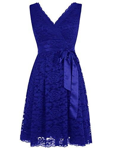 Dresstells, Robe de cérémonie Robe de soirée de cocktail en dentelle col en V sans manches longueur genou Bleu Saphir