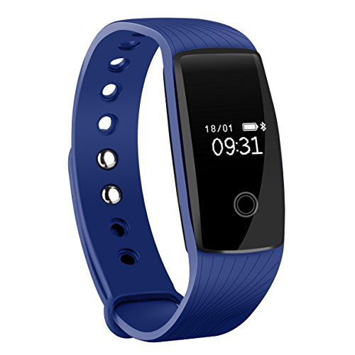 Fitness Tracker, Mpow Heart Rate Monitor Smart Bracelet Activity Tracker Bluetooth Pedometer with Sleep Monitor Smartwatch for iPhone 7 7 Plus 6 Samsung S8 and Other Android or iOS Smartphones, Blue
