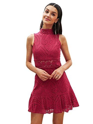 inikleid Sommer Elegant Rüsche Ärmellos O Ausschnitt Spitze Midikleid Dress Kleid Rot (Rüschen Auf Kleider)