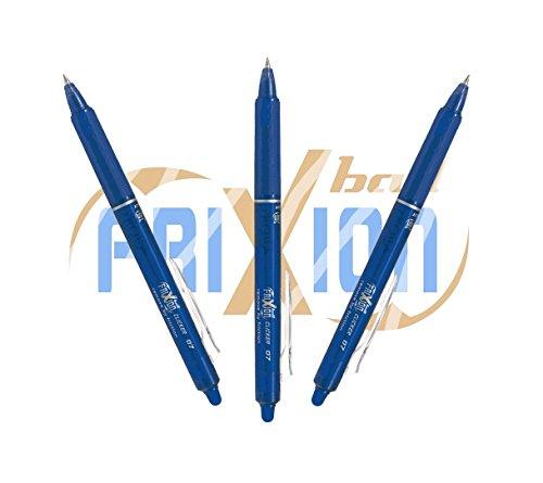 "PILOT Tintenroller FriXion Ball \""Clicker\"" (3er Sparpack, Blau)"