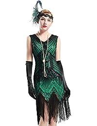 BABEYOND Robe Gatsby Femme Robe Frangée Costume Gatsby Robe Flapper 1920 Femme Robe V Cou Robe Soirée Paillette Gatsby sans Manche pour Soirée Art Déco Tango Latine Fête Bal