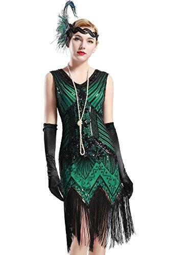 BABEYOND Damen Flapper Kleider voller Pailletten Retro 1920er Jahre Stil V-Ausschnitt Great Gatsby Motto Party Damen Kostüm Kleid (Größe S / UK8-10 / EU36-38, (Partys Motto 80's Kostüme)